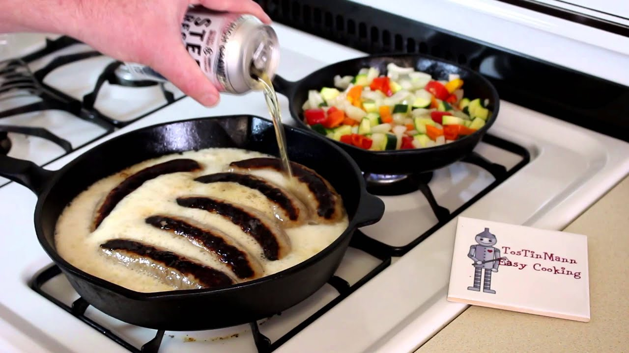 Stovetop Beer Bratwurst in the Cast Iron Skillet~Easy Cooking ...