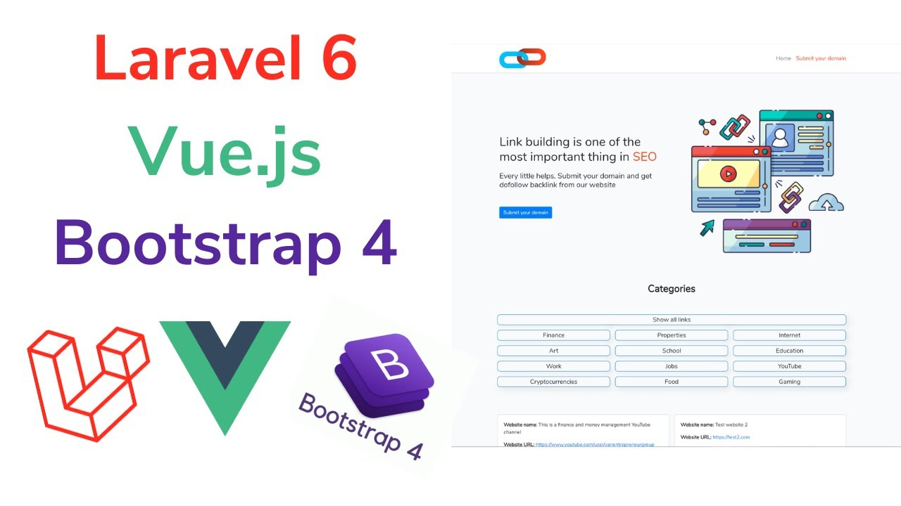 Laravel 6 and Vue.js and Bootstrap 4 WebApp Built from scratch for Beginners