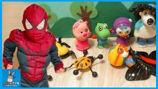 뽀로로 장난감 친구들 마을 구해주세요! 스파이더맨 (웃김주의) ♡ 신기한 문방구 어린이 장난감 놀이 Spiderman Superhero | 말이야와친구들 MariAndFriends