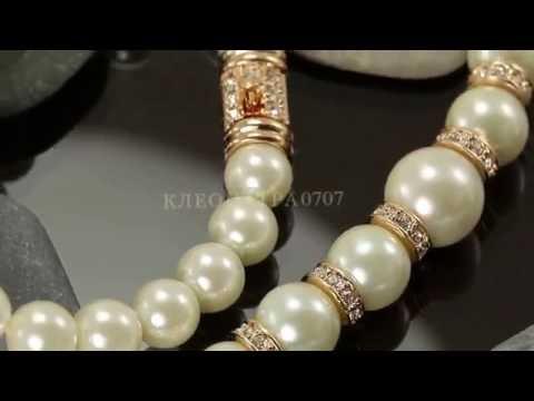 Кулон - ожерелье с австрийскими кристаллами и жемчугом, покрытый золотом