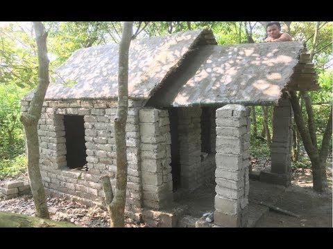 Building a beautiful roman house | Primitive technology with manual construction skills