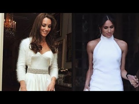 watch meghan markle s second wedding dress makes kate s look like a dramatic ceremony gown youtube watch meghan markle s second wedding dress makes kate s look like a dramatic ceremony gown