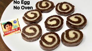 Parle G Chocolate Swiss Roll Recipe | Without Egg, Oven, Flour, Gas | No Bake Swiss Roll Recipe