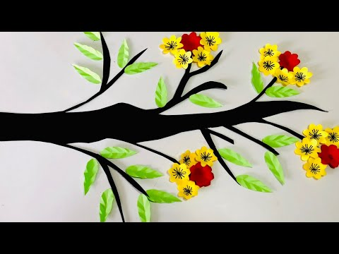 diy-tree-branch-wall-art-decor-|-wall-decoration-ideas-|-tree-branch-craft-for-class-room-decoration