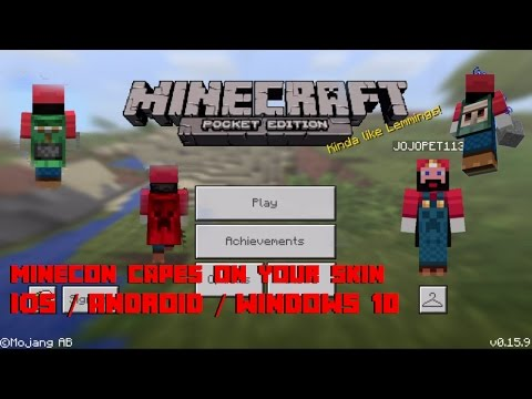 MCPE 0.15.9 How to Use Minecon Capes on Your Custom Skin for IOS / Android and Windows 10