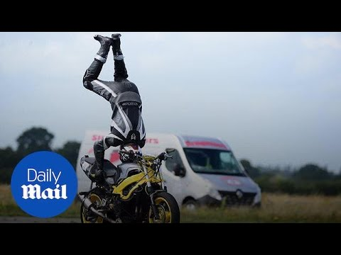 Tanner and Drew - Daredevil Handstand On Motorcycle Going 76 MPH