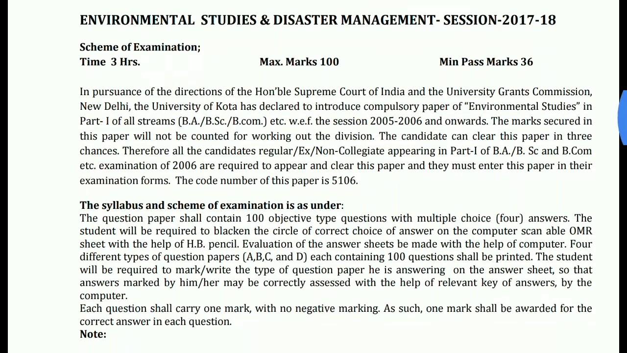 Environmental Studies compulsory paper BA BSc BCom pt I syllabus 2018 kota  university