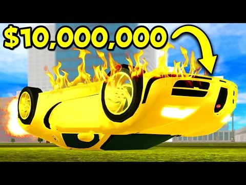 CRASHING MY $10,000,000 GOLD BUGATTI IN ROBLOX!