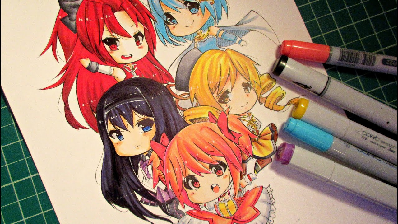 "Coloring :Chibi Magical Girls"" With Markers"