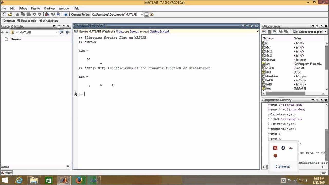 Nyquist Plot Using Matlab