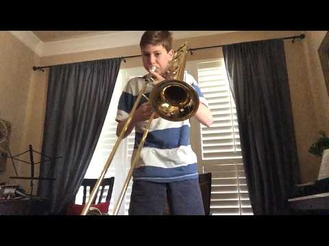 """Hedwig's Theme"" from Harry Potter on trombone"