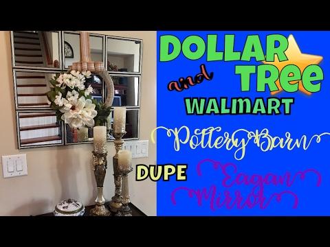 😃😮😄DIY DUPE: Pottery Barn Dupe! Eagan Mirror with Wreath - Dollar Tree & Walmart