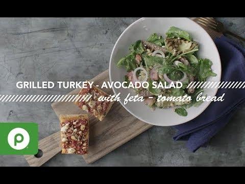 Grilled Turkey-Avocado Salad & Feta-Tomato Bread. A Publix Aprons recipe.