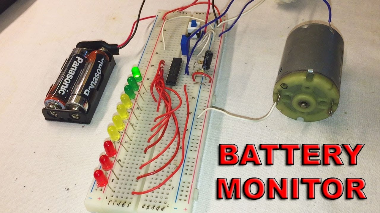 diy simple led battery monitor with lm3914 electric diagram in video by ste [ 1280 x 720 Pixel ]