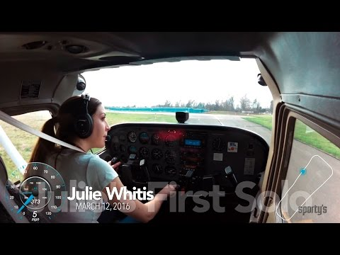 Julie Whitis' first airplane solo at Sporty's Academy