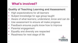 Quality of teaching, learning and assessment: what governors need to know