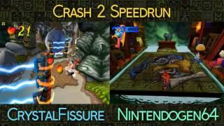 Crash Bandicoot 2 Speedrun | CrystalFissure vs Nintendogen64 - Beat The Eel Deal with the Green Gem