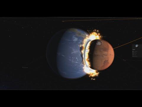 when mars crash into the Earth - Space simulator 720p  