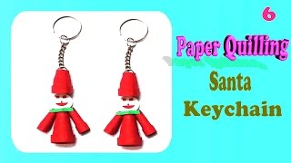 Paper Quilling santa keychain