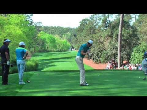 P Lawrie,Rickie Fowler,Phil Mickleson,Dustin Johnson,Matt Kuchar hitting drives on 11, Augusta 2013