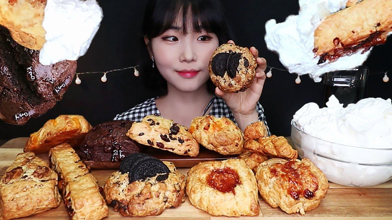 ASMR 스콘 10개, 생크림 듬뿍 디저트 먹방 Whipped Cream & SCONE DESSERT MUKBANG EATING SOUNDS スコーン