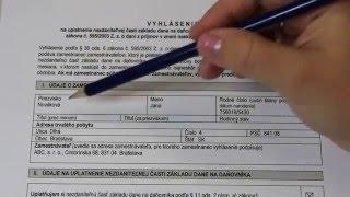 Vyhlásenie na uplatnenie nezdaniteľnej časti základu dane na daňovníka na rok 2016 (SK)