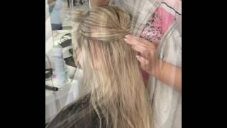 Свадебная причёска на длинный волос. Прическа в коктейльном  стиле.