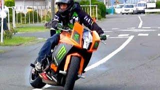 【バイク神業】教習所で1200cc ドリフトウイリー!ばくおん!【KTM1190RC8】Bike Stunt Ninja Japan Shin Kinoshita Dai Yabiku