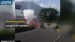 ... a video by local journalist shows bomb exploding amidst troops patrolling on motorbike in caracas venezuelathe c...