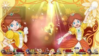 Super Smash Bros Ultimate 8 Player CPU Battle on Mushroom Kingdom Battlefield Form