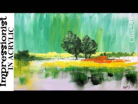 Impressionist Trees , Easy Acrylic Painting Tutorial
