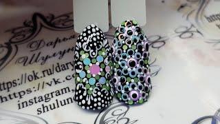 Дизайн ногтей точка к точке (Point to point) Камифубуки в дизайне ногтей. Дизайн с камифубуками
