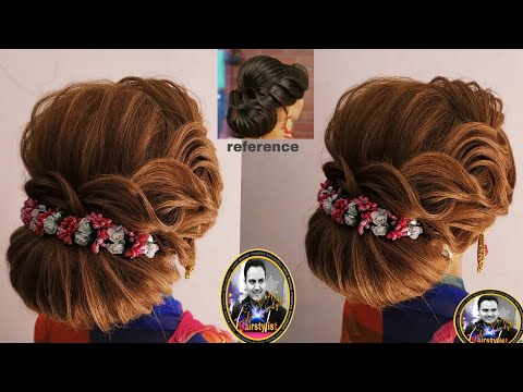 Latest Western back bun hairstyle 2018/ wedding hairstyle with lahnga and goun/ judha hairstyle 2018