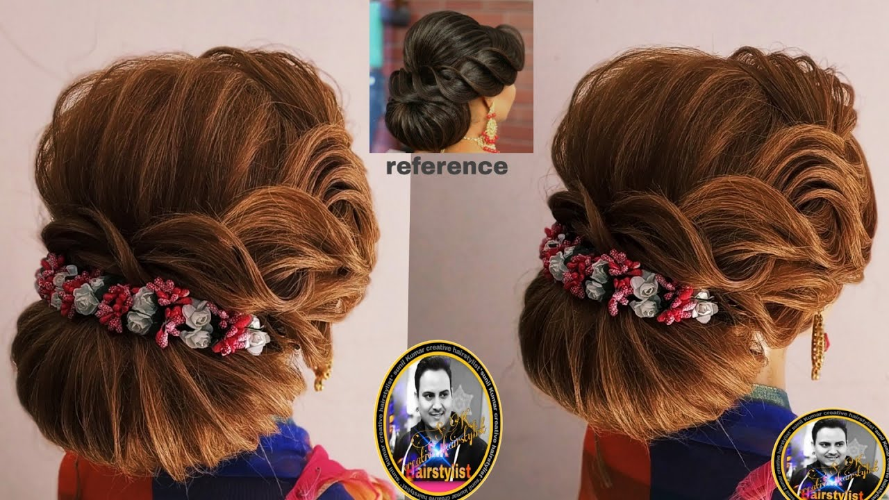 Latest Western Back Bun Hairstyle 2018 Wedding Hairstyle With Lahnga And Goun Judha Hairstyle 2018