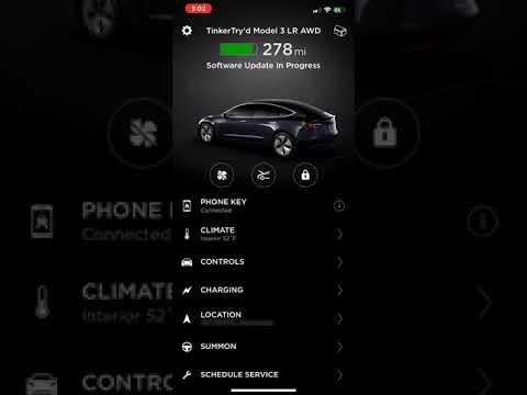 Model 3 Firmware Upgrade using Tesla App on iOS - YouTube