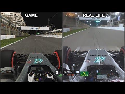 F1 2017 vs Real Life - Bahrain Grand Prix Onboard Lap Comparison