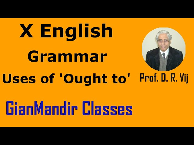 X English | Grammar | Uses of 'Ought to' by Nandini Ma'am