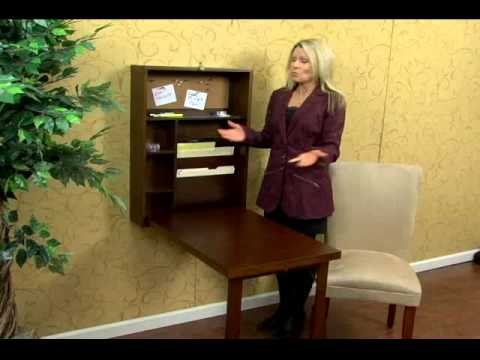 Walnut Fold Out Convertible Desk By Southern Enterprises