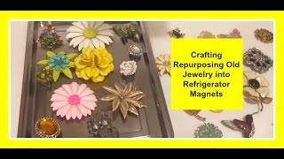 DIY Crafting Repurposing Old Jewelry into Refrigerator Magnets