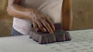 Shot of a traditional woodblock printing in India