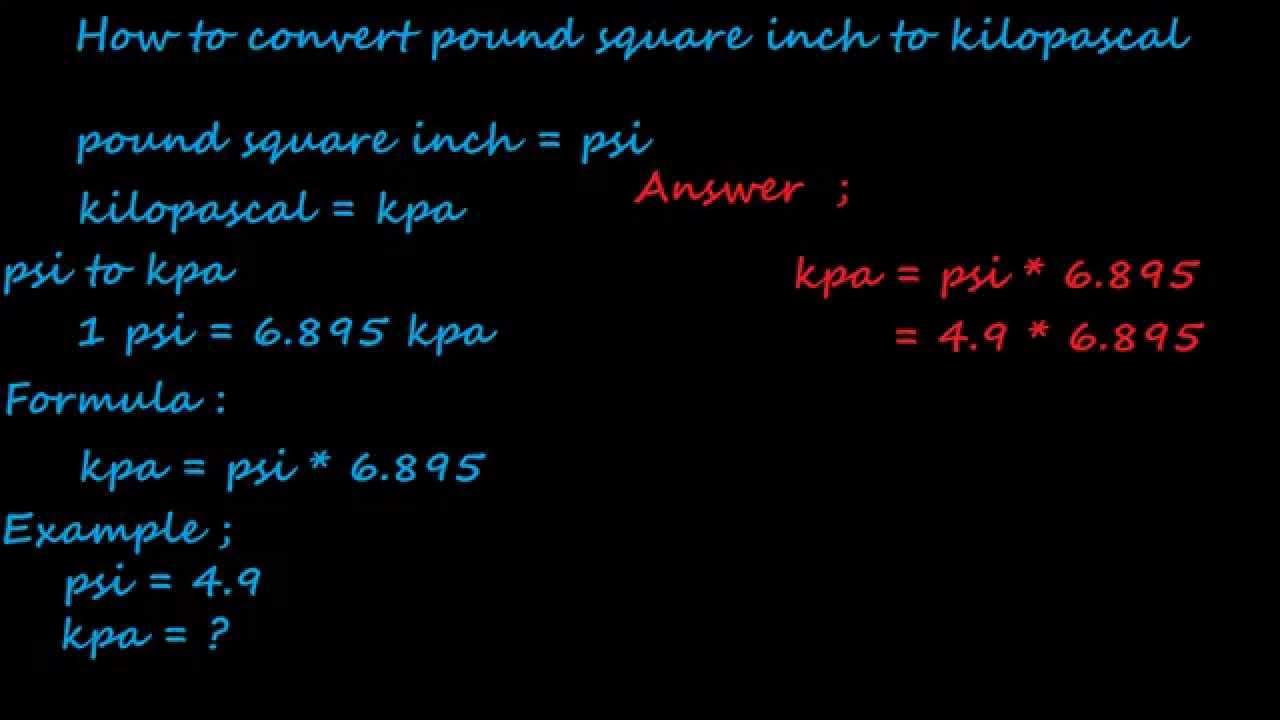 Kilopascal to Pound per Square Inch kPa to psi conversion chart