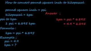 how to convert psi to kilo pascal - pressure converter