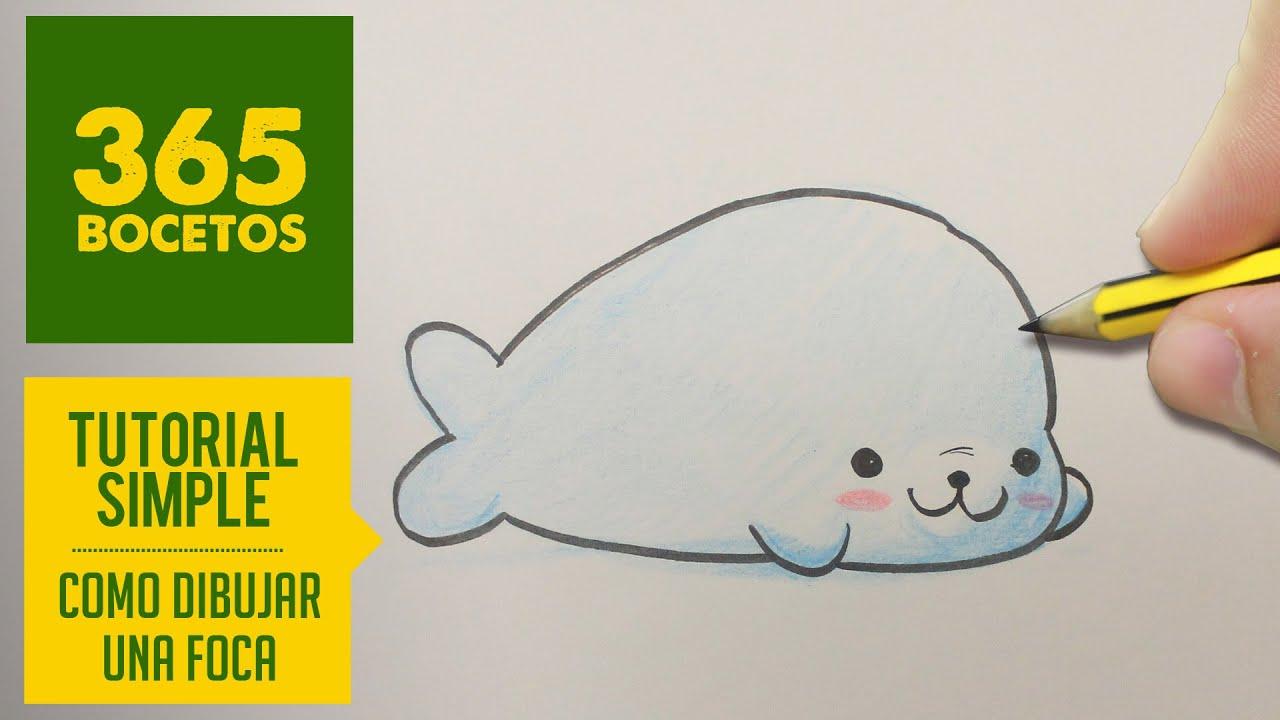 Como Dibujar Una Foca Kawaii Paso A Paso Dibujos Kawaii Faciles