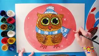 Как нарисовать сову гуашью. Подробный видео-урок по живописи гуашью