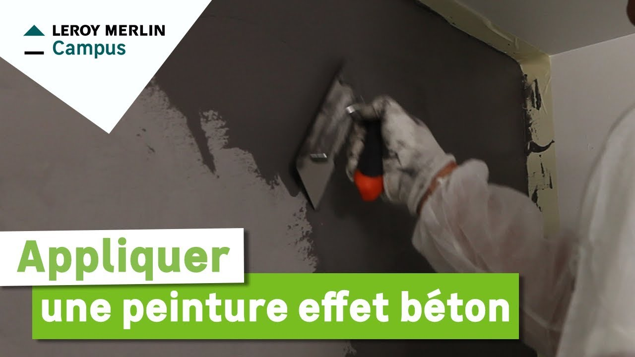 comment appliquer une peinture effet b ton leroy merlin youtube. Black Bedroom Furniture Sets. Home Design Ideas