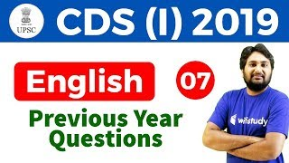 3:00 PM - UPSC CDS (I) 2019 | English by Harsh Sir | Previous Year  Questions