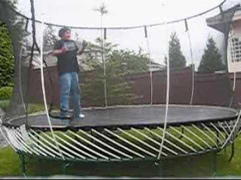 Wet trampoline, lesbian ebony with strapon