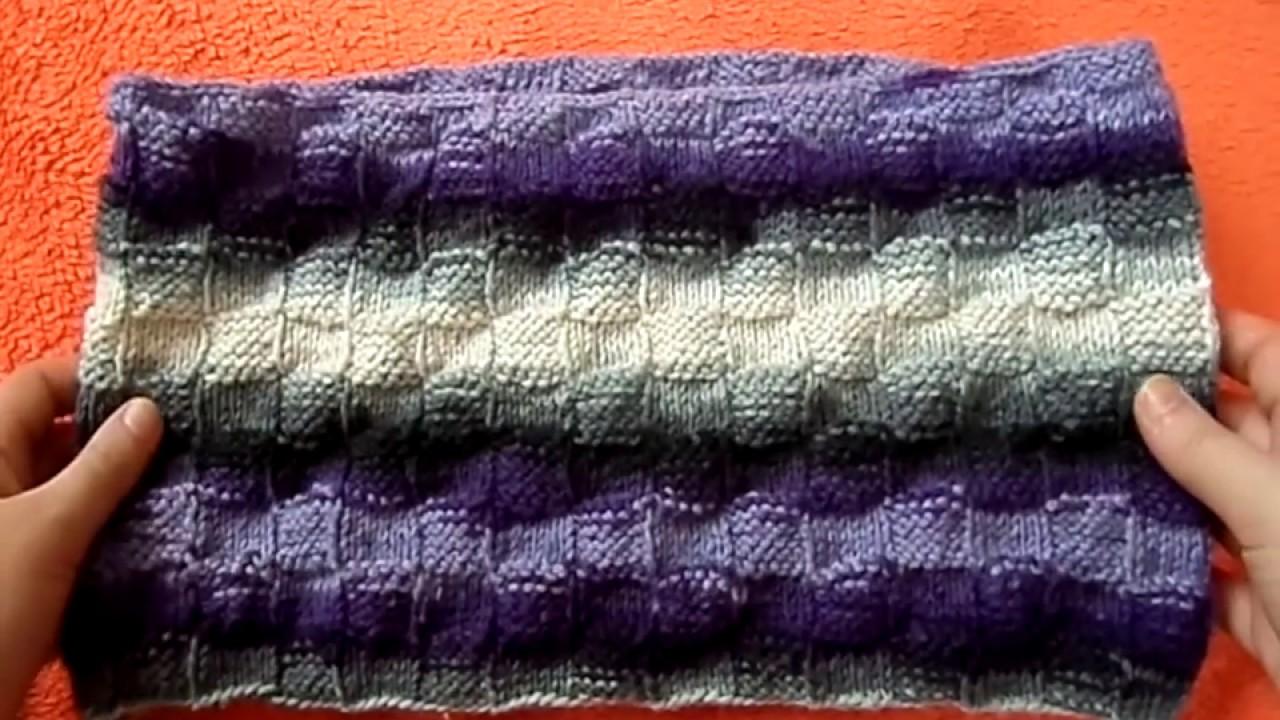 Вязание шарфа-хомута круговыми спицами