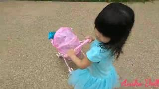 Baby Alive Playground Fun / Little Girl Pushing Pink Stroller / Kids Playing Outdoor Park