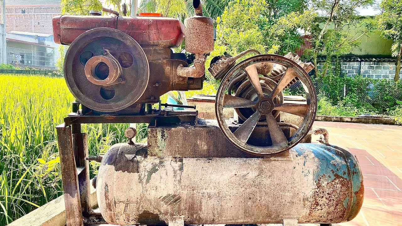 Restoration of giant industrial air compressors | Restore of the 10 Hp large capacity steam pump